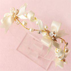 Bow Knot Fillet Bride Hair Jewelry White Wedding Veil Accessories Handmade Headgear -