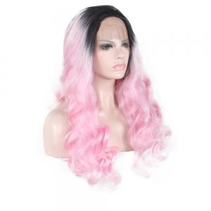 Женская мода Pretty Black Gradient Pink Big Wavy Curly Wig -