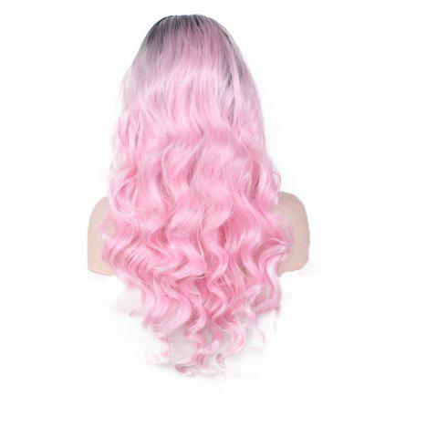 Женская мода Pretty Black Gradient Pink Big Wavy Curly Wig