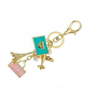 Inlay perle strass porte-clés pour Womens Bag Cellphone voiture pendentif -