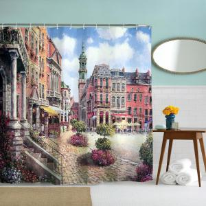 Oil Painting City 2 Polyester Shower Curtain Bathroom  High Definition 3D Printing Water-Proof -