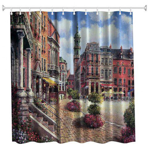 Discount Oil Painting City 2 Polyester Shower Curtain Bathroom  High Definition 3D Printing Water-Proof