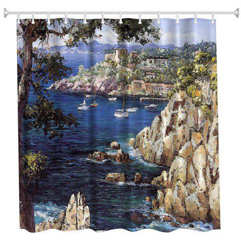Best Oil Painting City 4 Polyester Shower Curtain Bathroom  High Definition 3D Printing Water-Proof