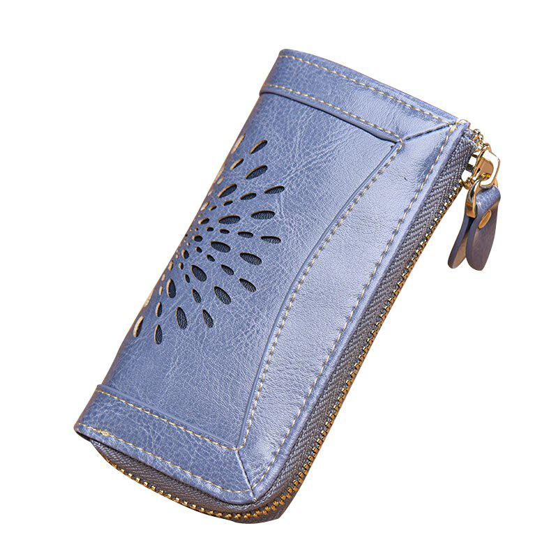 Fancy NaLandu Vintage Hollow Out Design Leather Key Holder Women Wallet Pouch