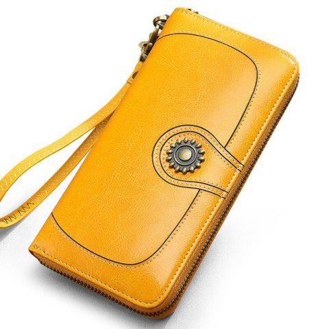 Affordable NaLandu Vintage Women's Large Capacity Luxury Wax Leather Clutch Wallet Card Holder Wristlet Handbag