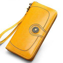 NaLandu Vintage Women's Large Capacity Luxury Wax Leather Clutch Wallet Card Holder Wristlet Handbag -