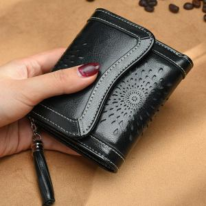 NaLandu Women Vintage Trifold Wallet Hollow Out Design Wax Кожаный футляр для муфты Multi Card Органайзеры для дам -