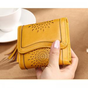 NaLandu Women Vintage Trifold Wallet Hollow Out Design Wax Leather Clutch Purse Multi Card Organizer Holders for Ladies -