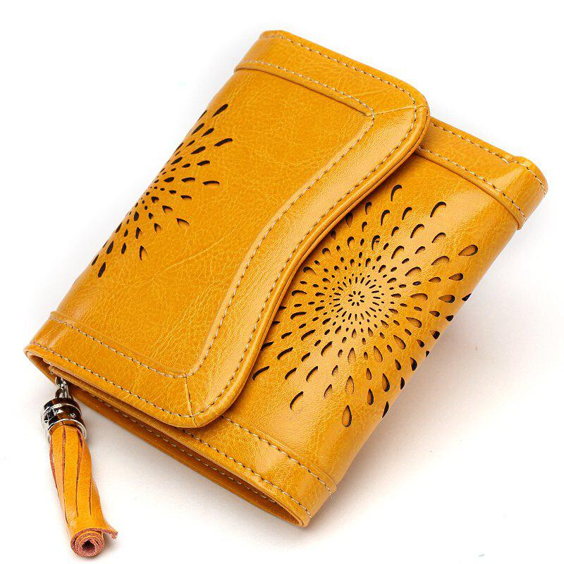 Fashion NaLandu Women Vintage Trifold Wallet Hollow Out Design Wax Leather Clutch Purse Multi Card Organizer Holders for Ladies