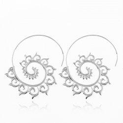 Punk Gold Sliver Hollow Spiral Dangle Earrings Women Ladies Tribal Gear Drop Circle Ear Festival Jewelry -