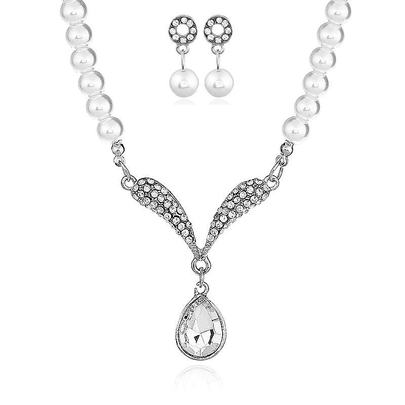 Hot Freshwater With Beads Jewelry Sets Silver Wedding Decoration For Women Pendant Necklaces and Earrings