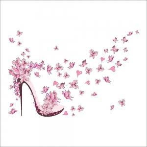 Pink Butterfly High Heels Wall Art Sticker Home Decoration Waterproof Removable Decals -