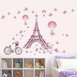 Paris Tower Pink Butterfly Wall Art Sticker For Home Room Decoration Waterproof Removable Decals -