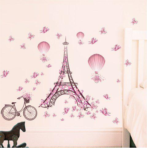 Best Paris Tower Pink Butterfly Wall Art Sticker For Home Room Decoration Waterproof Removable Decals