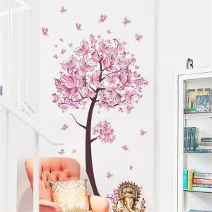 Pink Butterfly Flower Tree Wall Sticker  For Home Room Decoration Waterproof Removable Decals -