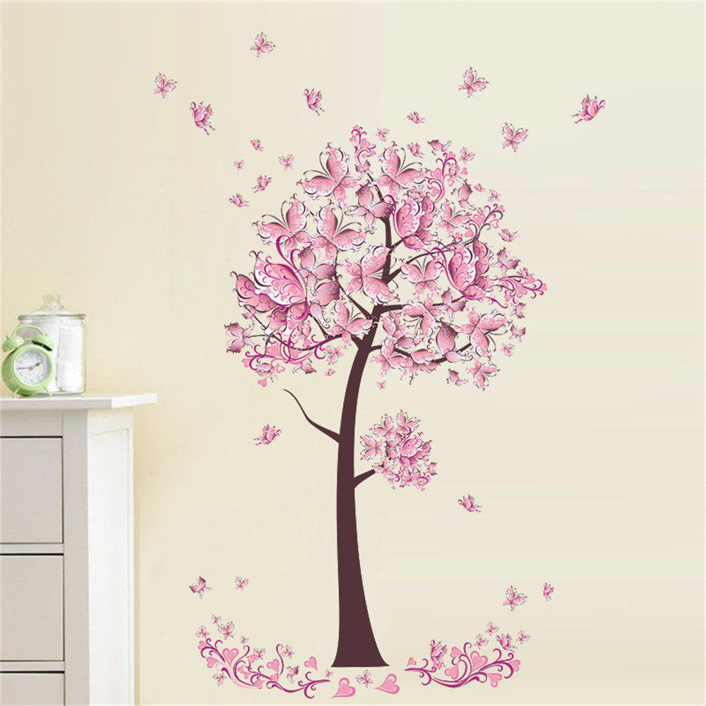 Sale Pink Butterfly Flower Tree Wall Sticker  For Home Room Decoration Waterproof Removable Decals