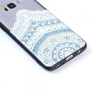 for Samsung A8 Plus Relievo Mandala Soft Clear TPU Phone Casing Mobile Smartphone Cover Shell Case -