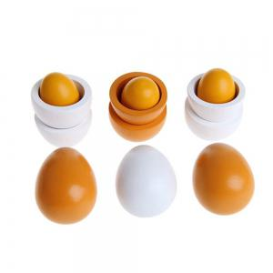 Wooden Pretend Play Eggs Assembling Toy for Kids Educational Gift Kitchen Food 6PCS -