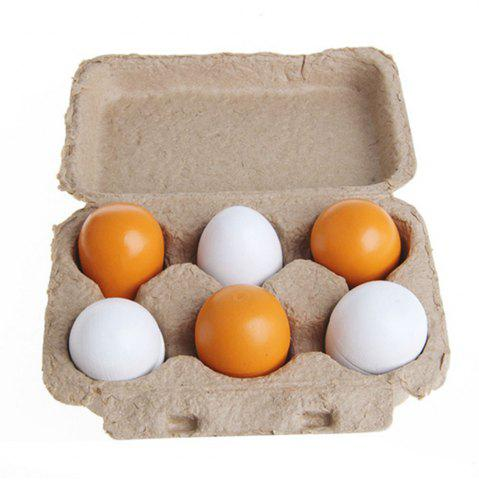 Unique Wooden Pretend Play Eggs Assembling Toy for Kids Educational Gift Kitchen Food 6PCS