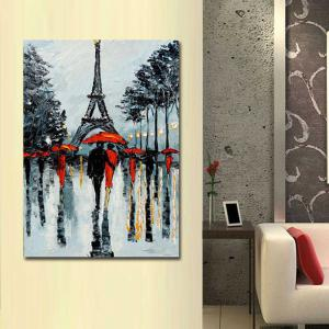 Hand Painted Abstract Eiffel Tower Rainy Lanscape Oil Painting on Canvas Living Room Home Wall Decor -