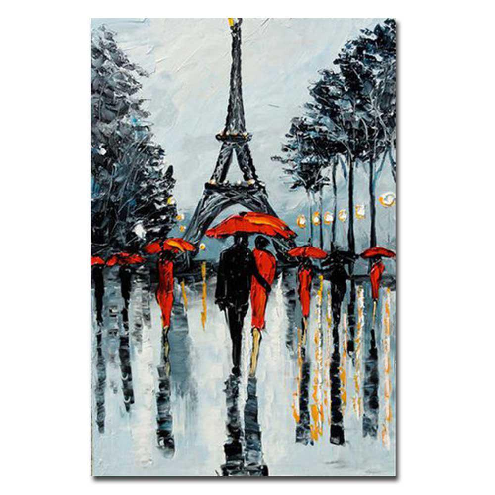 Outfit Hand Painted Abstract Eiffel Tower Rainy Lanscape Oil Painting on Canvas Living Room Home Wall Decor