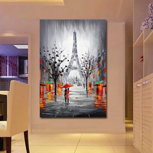 Hand Painted Abstract Effiel Landscape Oil Painting on Canvas Lover in Rainy Streetscpe Wall Picture Painting No Framed -