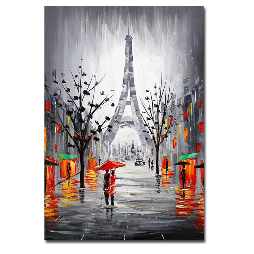 Shops Hand Painted Abstract Effiel Landscape Oil Painting on Canvas Lover in Rainy Streetscpe Wall Picture Painting No Framed