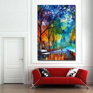 Hand Painted Abstract Palette Knife Streetscape Oil Pianting Lover Walk on Street Wall Pciture Frameless Canvas Painting -