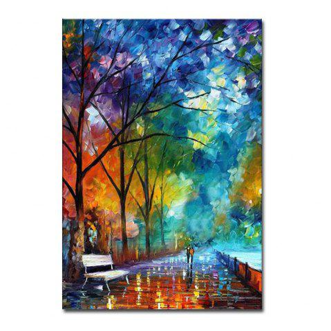 Fancy Hand Painted Abstract Palette Knife Streetscape Oil Pianting Lover Walk on Street Wall Pciture Frameless Canvas Painting