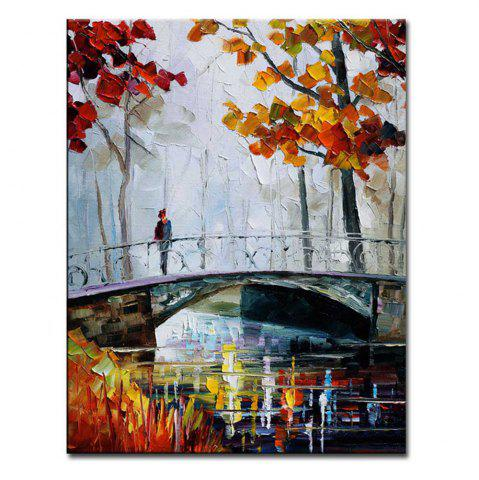 Buy Hand Painted Abstract Palette Knife Bridge Landscape Oil Painting on Canvas Bridge Wall Picture Home Wall Decor