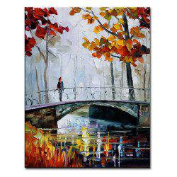 Hand Painted Abstract Palette Knife Bridge Landscape Oil Painting on Canvas Bridge Wall Picture Home Wall Decor -