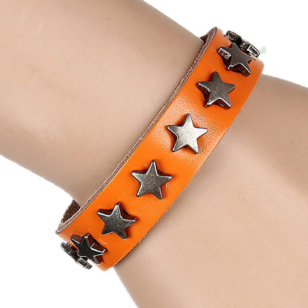 Shops Europe and The United States Non-Mainstream Wild Five-Pointed Star Leather Bracelet