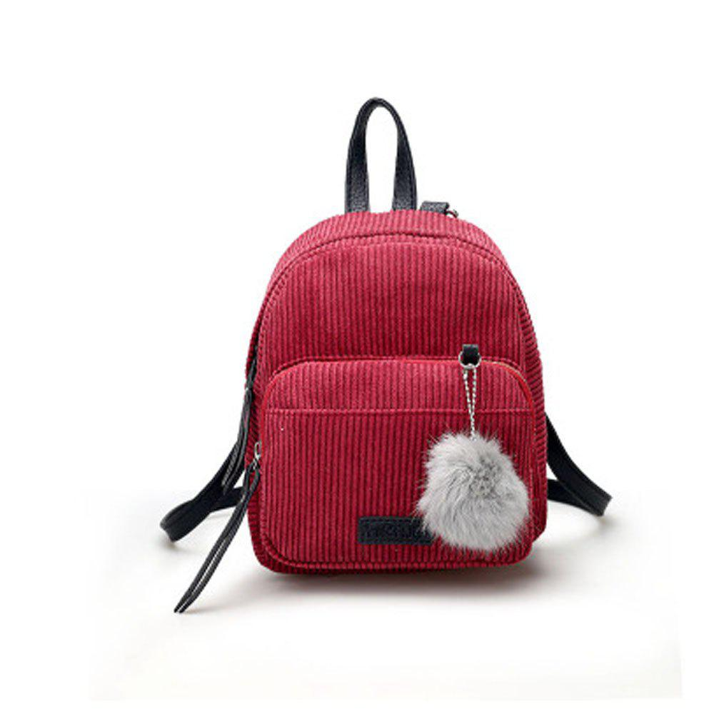 1af8699a57 2019 Girl s Mini Backpack Fluffy Ball Pendant Solid Corduroy Bag ...