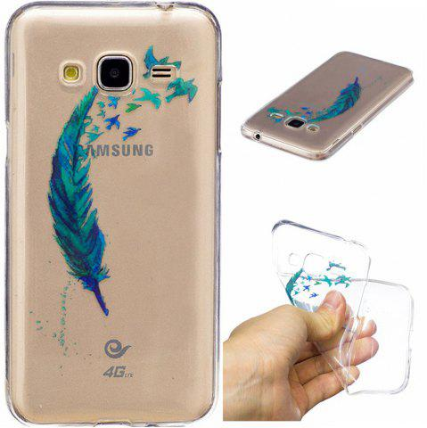Fashion Beautiful blue feathers TPU Soft Case for Samsung J310