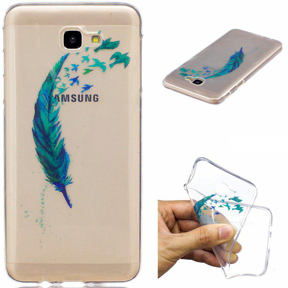 Discount Beautiful blue feathers TPU Soft Case for Samsung Galaxy J7 Prime
