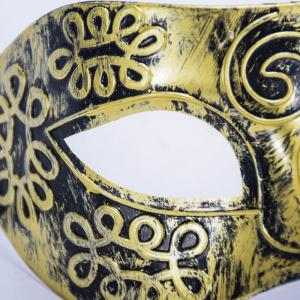 Ancient Roman Ball Mask Halloween Gold Silver Bronze Mask Classic Man Half Face Flat Carved PVC -