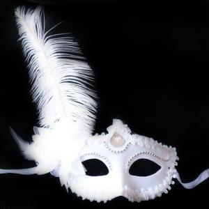 Masquerade Feather Mask Halloween Cutout Prom Party Mask Accessories Ostrich Princess Mask -