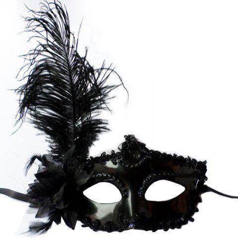 Unique Masquerade Feather Mask Halloween Cutout Prom Party Mask Accessories Ostrich Princess Mask