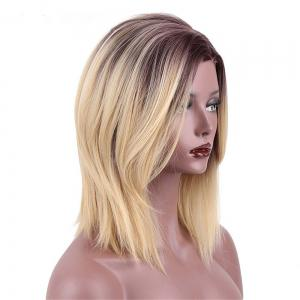 CHICSHE 16 inch High Temperature Fiber Short Straight Synthetic Ombre Blonde Color Wigs -