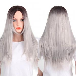 CHICSHE Synthetic Ombre Red Wigs Long Straight Cosplay Grey Hair Free Shipping -