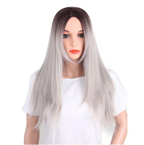 New CHICSHE Synthetic Ombre Red Wigs Long Straight Cosplay Grey Hair Free Shipping