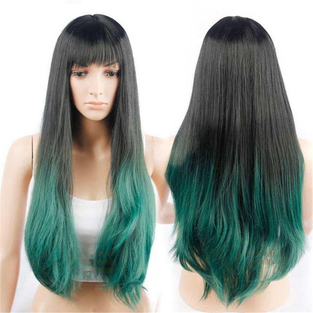 Latest CHICSHE Synehetic Long Ombre Wigs for Women Wavy Black Brown Hair