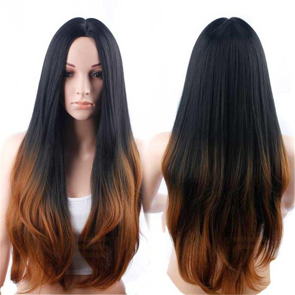 Hot CHICSHE Synehetic Long Ombre Wigs for Women Wavy Black Brown Hair