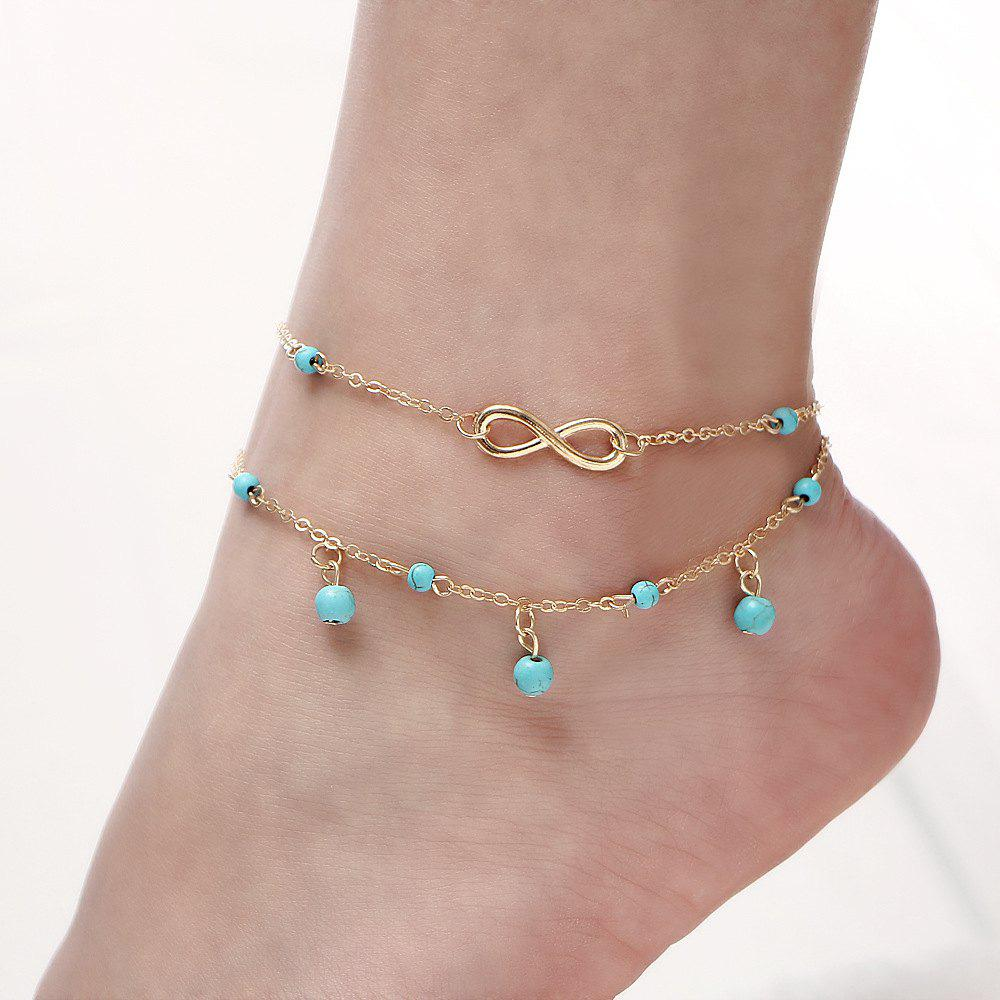 Buy Multi-Layered Fasion Turquoise Anklet