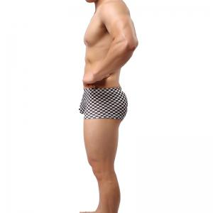 Black and White Checkered Low Waist Sexy U-Convex Boxer Shorts -
