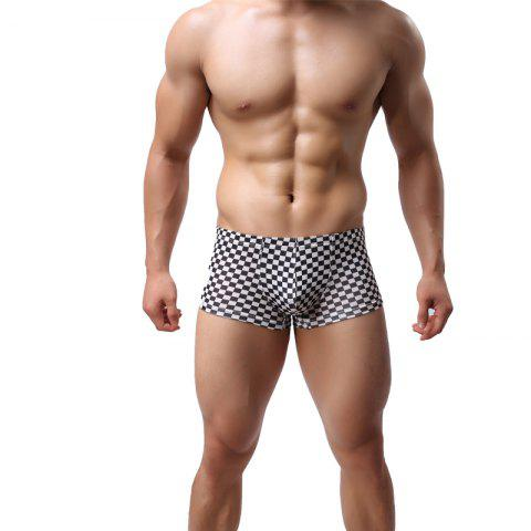Discount Black and White Checkered Low Waist Sexy U-Convex Boxer Shorts