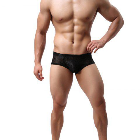 Trendy Lace Men's Underwear Low Waist Breathable U Convex Sexy Small Boxer Shorts