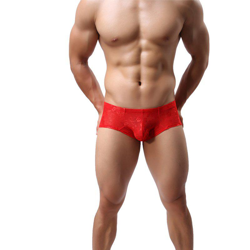 Hot Lace Men's Underwear Low Waist Breathable U Convex Sexy Small Boxer Shorts