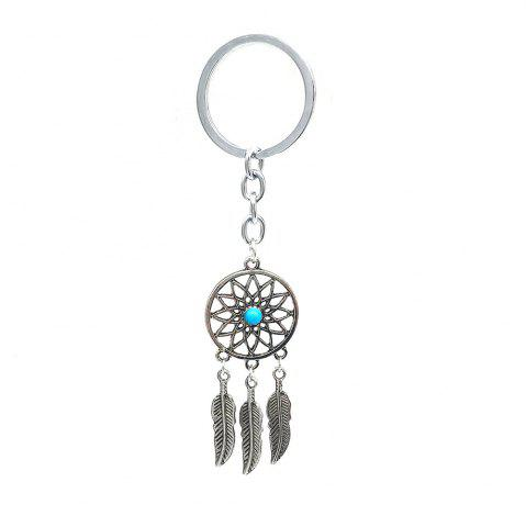 Fashion Leaves Feather Tassel Turquoise Pendant Keychain