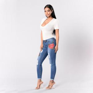 2018 Spring New Style Broken Hole Embroidered Small Leg Stretch Jeans -
